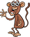 Funny monkey cartoon illustration of animal character Stock Images