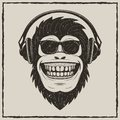 Funny monkey listening to music vector grunge t-shirt printing design Royalty Free Stock Photo