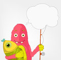 Funny Monster. Fisherman. Royalty Free Stock Photo