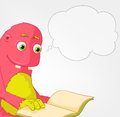 Funny Monster. Reading. Royalty Free Stock Photo