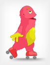 Funny Monster. Roller. Royalty Free Stock Photo