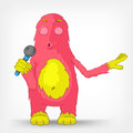 Funny Monster. Singing. Royalty Free Stock Photography