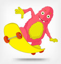 Funny Monster. Skateboarding. Royalty Free Stock Photos