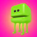 Funny monster smiling green cube on legs. 3d illustration.