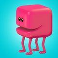 Funny monster smiling red cube on legs. 3d illustration.