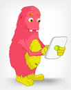 Funny Monster. Tablet User. Stock Photography