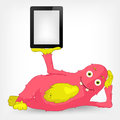 Funny Monster. Tablet User. Stock Image
