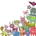 Funny monsters Big collection on white background. Vector Royalty Free Stock Photo
