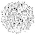 Funny monsters circle shape pattern for coloring book Royalty Free Stock Photo
