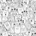 Funny monsters seamless pattern for coloring book Royalty Free Stock Photo