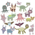 Funny monsters set Big collection on white background. Vector Royalty Free Stock Photo