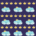 Funny mother cloud with babies. Vector Seamless pattern