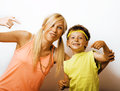 Funny mother and son with bubble gum Royalty Free Stock Photo