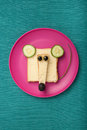 Funny mouse made of bread and cheese Royalty Free Stock Photo