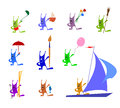 Funny multicolored rabbits with different objects set of each of has things brush ballon ladle umbrella skiing Stock Photo