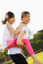 Funny with mum d lifestyle daughter in pastime at the park outdoor Stock Images