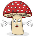 Funny mushroom cartoon character smiling Royalty Free Stock Image
