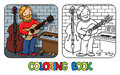 Funny musician or guitarist. Coloring book