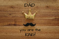 funny mustache and glitter crown. Father& x27;s day concept Royalty Free Stock Photo