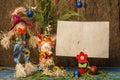 Funny Nativity Scene Christmas card.Copyspace Royalty Free Stock Photo