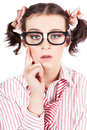 Funny Nerd Business Woman With Smart Idea Royalty Free Stock Photos