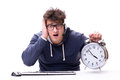 The funny nerd call center operator with giant clock