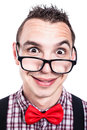 Funny nerd face silly man making isolated on white background Royalty Free Stock Image