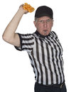 Funny NFL Football Referee or Umpire, Penalty Flag, Isolated Royalty Free Stock Photo