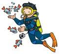 Funny oceanographer or diver
