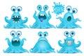 Funny octopus emoji monster character set