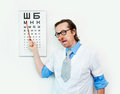 Funny oculist in the white coat Stock Image
