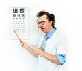 Funny oculist in the white coat Stock Photos