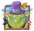 Funny Ogre with purple hat and candy stick