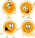 Funny orange cartoon wit hands and legs isolated on white background Royalty Free Stock Images