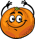 Funny orange fruit cartoon illustration of citrus food comic character Stock Images