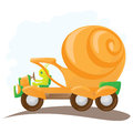 Funny orange snail car in cartoon style Stock Photos