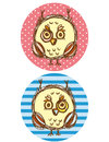 Funny owl boy and girl on a blue and pink background. Greeting card Vector