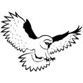 Funny owl in flight with outstretched wings wide and sharp claws hand drawing vector outline isolated on a white background Royalty Free Stock Image