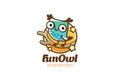 Funny Owl sitting Logo design vector linear. Bird Fun icon