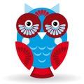 Funny owl on white background.