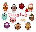 Funny owls set. Cute cartoon owls fashion costume outfits.