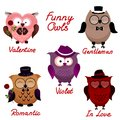 Funny owls set for your design Royalty Free Stock Photos