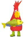 Funny Parrot. Fisherman. Royalty Free Stock Photo
