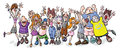 Funny party people cartoon illustration of a rejoice Stock Photo