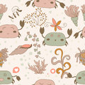 Funny pattern with cute pink crabs cartoon summer for children eps Stock Photography