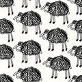 Funny pattern with sheeps Stock Photos