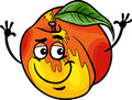 Funny peach fruit cartoon illustration of food comic character Royalty Free Stock Image