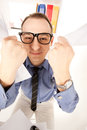 Funny picture of businessman in office wideangle Royalty Free Stock Photo
