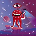 Funny picture of funny red alien with phone Royalty Free Stock Photo