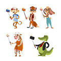 Funny picture photographer mamal person take selfie stick in his hand and cute animal taking a selfie together with Royalty Free Stock Photo